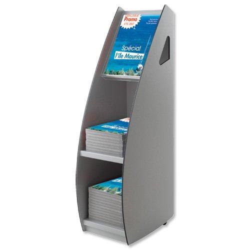 Fast Paper 2820.212 Mobiler Zeitschriftenständer mit Sichtfenster, B266xT370xH994mm, Grau