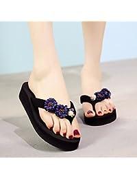 FLYRCX Sommer Badeort Strand Schuhe rutschfeste dicke Sohle flip flops Mode Damen outdoor Hausschuhe, 40 EU, d
