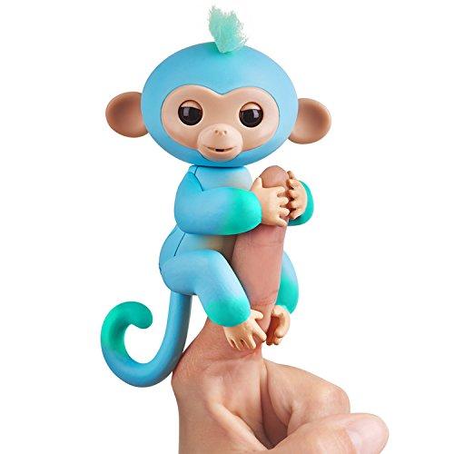 Fingerlings zweifarbiges Äffchen blau mit grün Charlie 3723 interaktives Spielzeug, reagiert auf Geräusche, Bewegungen und Berührungen (Affe Augen Große Handpuppe)