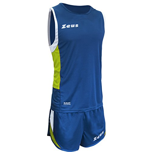 ZEUS KIT ATLANTE RUNNING COMPLETO COMPLETINO CORSA SPORT PALESTRA JOGGING (Royal-Giallo Fluo-Bianco, XL)
