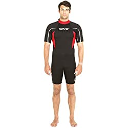 Seac Relax Shorty 2.2mm Idéale pour Snorkeling, Plongée, Natation et Activités Nautiques Homme, Noir/Rouge , L