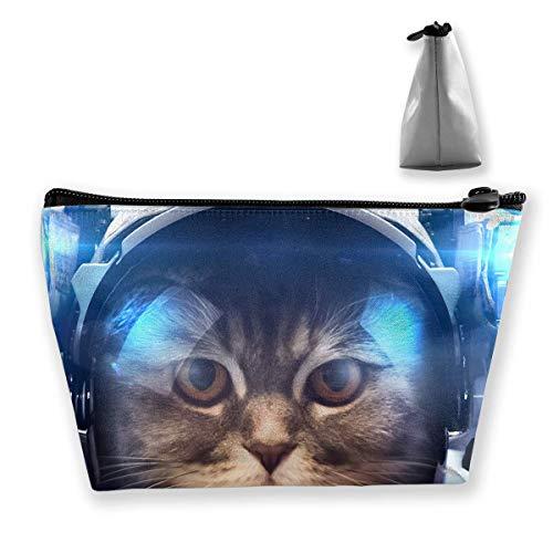 Tragbare Reise Kosmetiktasche Aufbewahrungstasche Make-up Tasche Astronaut Tiere Katzen Netter Reißverschluss Trapez Geldbörse Frauen Männer Geschäftsreisen