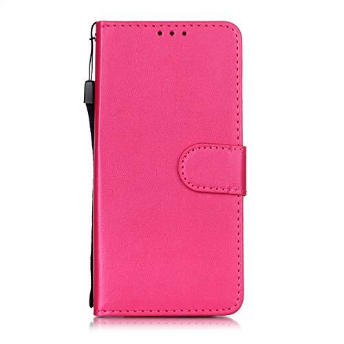 Lomogo Nokia 4.2 Hülle Leder, Schutzhülle Brieftasche mit Kartenfach Klappbar Magnetverschluss Stoßfest Kratzfest Handyhülle Case für Nokia4.2 - LOYHU250781 Rosa Rot