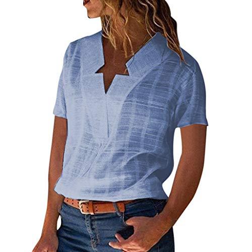 NEEKY Damen Bluse Leinen V-Ausschnitt Henley Shirt Casual Kurzarm Oberteile Unterhemd Sexy Hemd T-Shirt Oberteil Elegant Tops Frühling Sommer Einfarbig Weste