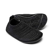 Sosenfer Toddler Boys Girls House Socks Slippers Non-Slip Little Kids Lightweight Indoor Home Shoes-HEI-22 Black