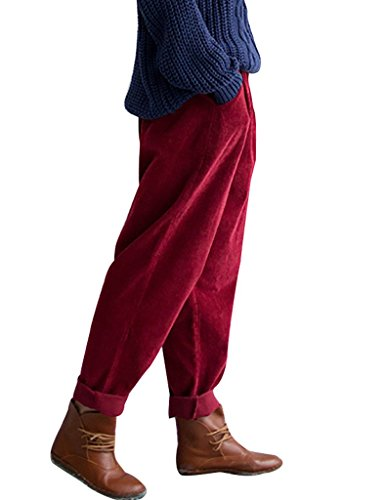 Youlee Frauen-elastische Taille Corduroy Hose mit Taschen Burgund