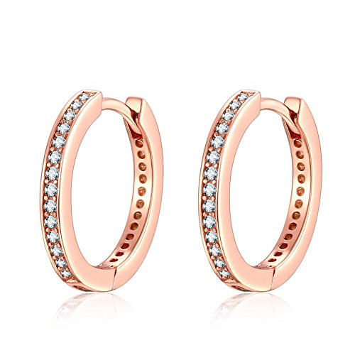 a6d79b58f Qings 925 Sterling Silver Earrings, Rose Gold Small Hoop Stud Pendientes  con Cubic Zirconia Simulated