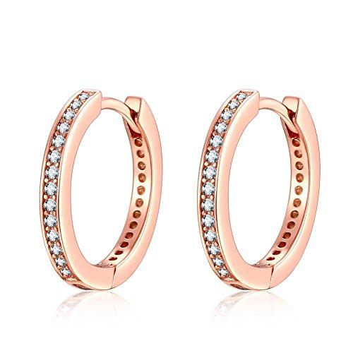 Presentski 925 Sterling Silber Damen Ohrringe, Rose Gold Kleine Hoop Ohrstecker mit Zirkonia Simulierte Diamond Geschenke für Damen Frauen Mädchen
