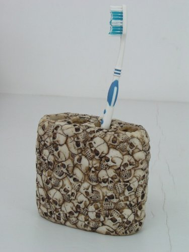 5.25 Inch Skulls All Over Pattern Four Tooth Brush Holder, Beige by PTC