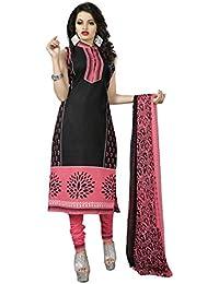 Dealsure Women's Cotton Dress Material (Black and Pink)
