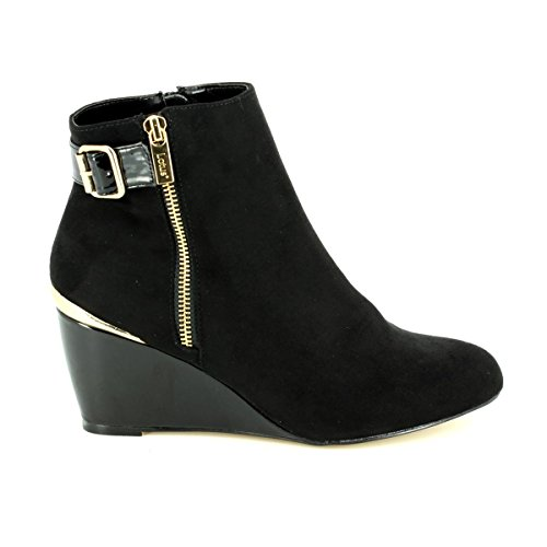 Noir Microfibre Noir Coin Bottes Brillant Zip Cassia Lotus up OzTqFwaO5