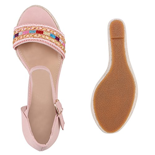 Modische Damen Strass Sandaletten Bast Pantoletten Wedges Rosa Bunt