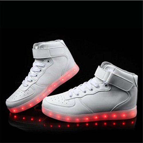 (Present:kleines Handtuch)JUNGLEST® Unisex Men Women High Top LED-Licht Sneakers USB Charging 7 Color Changing Luminous Couple Casual Weiß