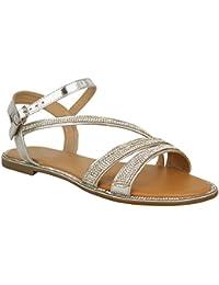 Sandales plates - à brides/strass - style spartiates/été/plage - femme