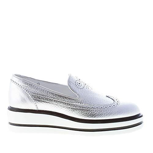 Hogan Donna H323 Slip on Sneaker in Pelle Martellata Argento con Ricamo Wingtip Color Argento Size 39.5