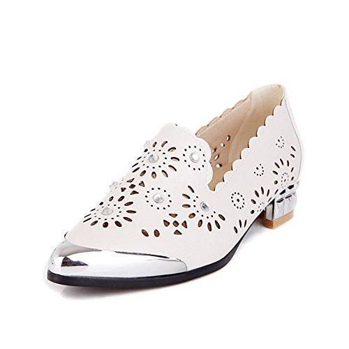 VogueZone009 Femme Matière Souple Mosaïque Tire Pointu Chaussures Légeres Beige