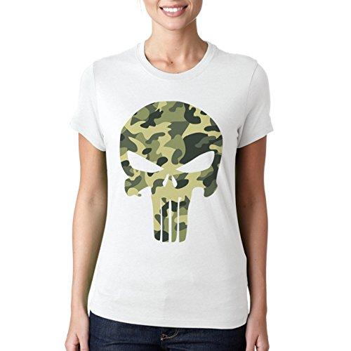 Army Punisher Skull-Maglietta da donna bianco XXL