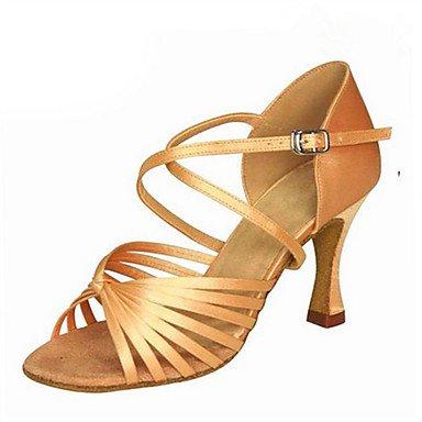 Silence @ Chaussures de danse pour femme en satin Latin Jazz Swing Chaussures Salsa Sandales talons Heelpractice débutant Professional Camel