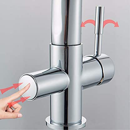 Purificación de cromo Fregadero de cocina Grifo Montaje en cubierta 3 Vías 360 Giratorio Puro de agua Fregadero de cocina Grifo Mezclador Grifo de agua potable Grifo