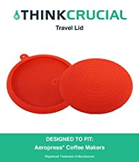 Durable Travel Cap Lid / Brewing Grip For Transporting Coffee Beans, Filters & More, Fits Aerobie AeroPress Coffee & Espresso Makers, Red Silicone, by Think Crucial