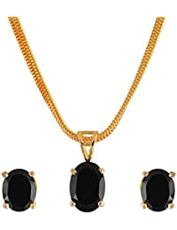 Cardinal American Diamond Stylish Latest Design Black Color Pendant Necklace Set With Earring For Women/Girls