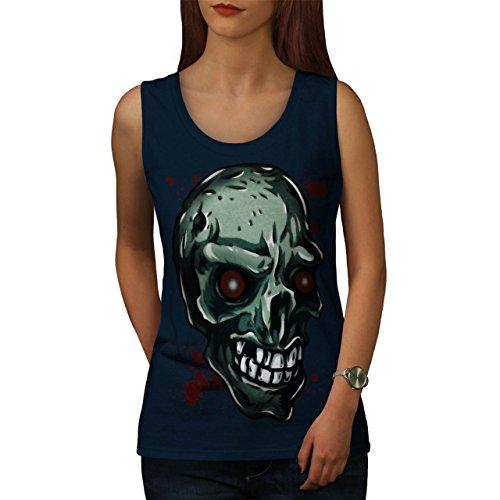 Zombie Auge Skelett Schädel Zombie Kunst Damen S-2XL Muskelshirt   Wellcoda Marine