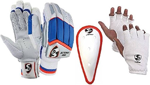 SG Combo von drei One Paar 'RSD ProLite' (leicht) Batting Handschuhe, one 'litevate' Bauch und ein Paar Campus 'Innen Handschuhe (Herren)-Cricket Kit