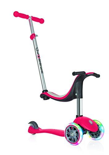 Globber niños de EVO 4-en-1con Light Up Ruedas Scooter, Infantil, EVO 4-in-1 with Light Up Wheels, Rojo, n/a