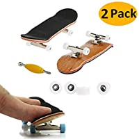 Mini Diapasón, 2 Pack Profesional Dedo Monopatín Maple Wood DIY Asamblea Skateboarding Juguete Juegos Deportivos Regalo de los Niños (Blanco)