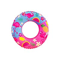 Swimming Ring PVC Flamingo Inflatable Swim Ring Thicken Round Lifebuoy Pool Party Toys 80cm