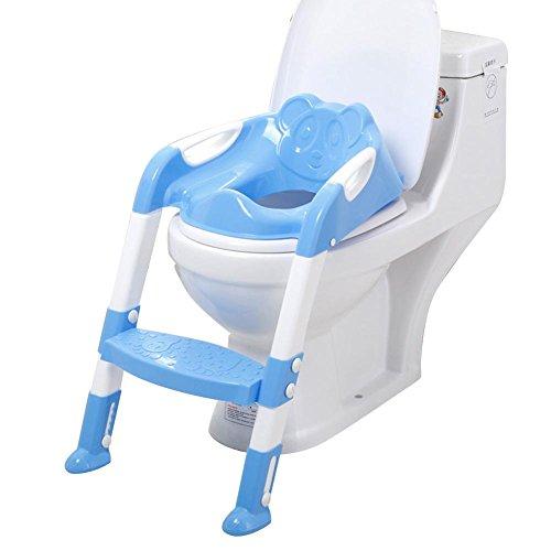 Besteffie - Asiento de Inodoro de tamaño Grande 3 en 1 para niños con Escalera Antideslizante y Resistente, Ideal para niños y niñas, Azul,