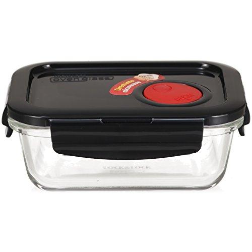 Lock & Lock Recipiente para Alimentos de Vidrio Apto para Microondas - Contenedor Cuadrado con Tapa para Horno, Microondas y Congelador, 380ml