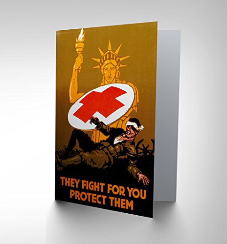 military-war-medical-red-cross-statue-liberty-soldier-greetings-card-cp1244