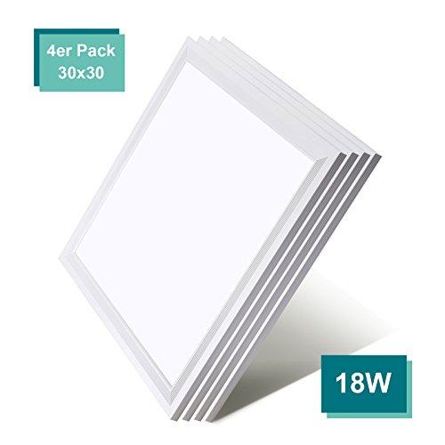 [4er Pack zum Sparpreis] OUBO LED Panel Deckenleuchte 30x30cm Wandleuchte Warmweiß 3000K, 18W, 1800 lumen, LED Lampe Ultraslim Einbauleuchte mit weißrahmen
