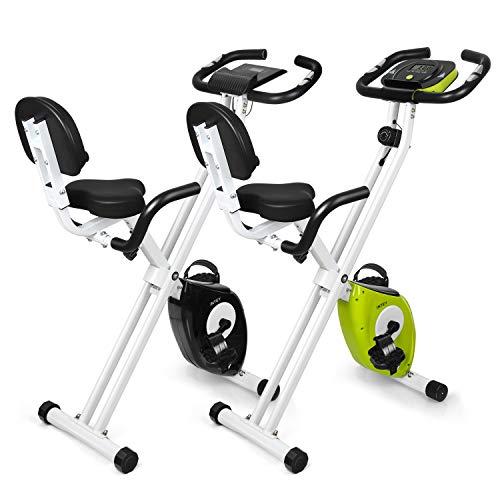 INTEY Bicicleta Estática Plegable F-Bike con 16 Niveles Resistencia Magnética Ajustable y Fitness Sillín de Gel, Sensores de Pulso de Mano, Pantalla LCD, Compacta y Plegable, Carga Máxima 100 kg