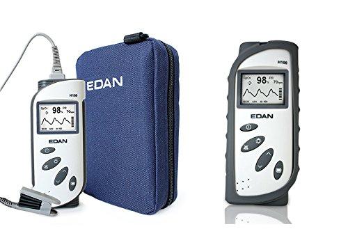 Edan H100B Pulsoximeter mit Silikonschutzhülle, Transporttasche und Fingersensor