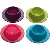 4 hueveras de silicona Lumanuby de diseño moderno, para huevos duros durante el desayuno (colores aleatorios)