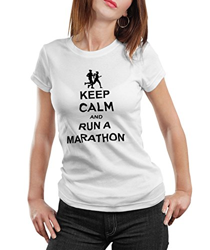 Stylotex Damen/Girlie T-Shirt Keep Calm and Run a Marathon, Größe:L;Farbe:Weiss (Buck Bell V)