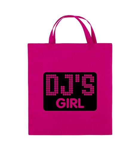 Comedy Bags - DJ'S GIRL - NEGATIV PUNKTE - Jutebeutel - kurze Henkel - 38x42cm - Farbe: Schwarz / Silber Pink / Schwarz