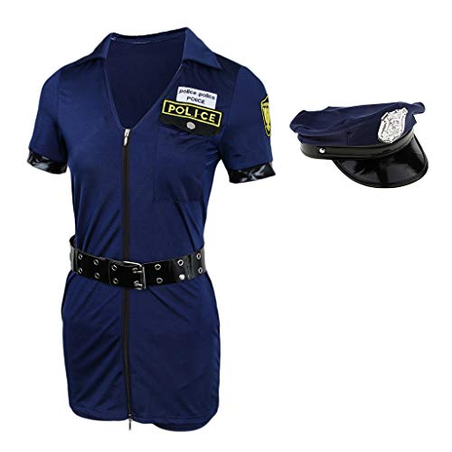 Baoblaze Damen Sexy Polizei Kostüm Polizistinnen-Outfit mit Mütze Bodydoll Nachtwäsche
