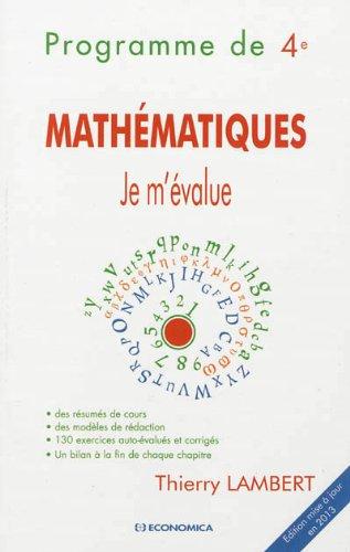 Mathématiques - Je m'évalue : Programme de 4e