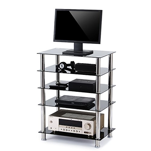 RFIVER 5-Tier Black Glass Audio Video Tower Pour TV, Xbox, Gaming Consoles, Composant média, Périphériques de diffusion, HF1002