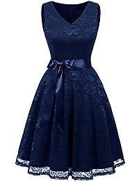 IVNIS Damen Ärmellos Vintage Spitzen Abendkleider Cocktail Party Floral Kleid