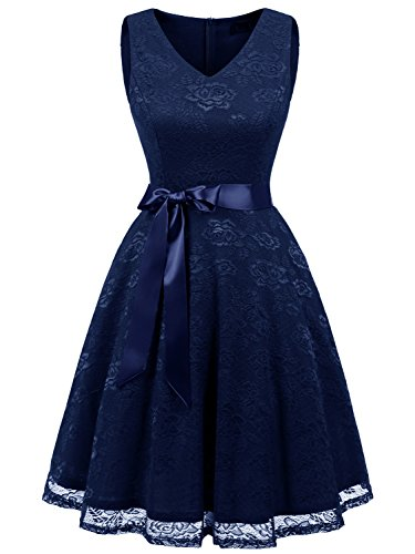IVNIS RS90025 Damen Ärmellos Vintage Spitzen Abendkleider Cocktail Party Floral Kleid Navy Blue XL