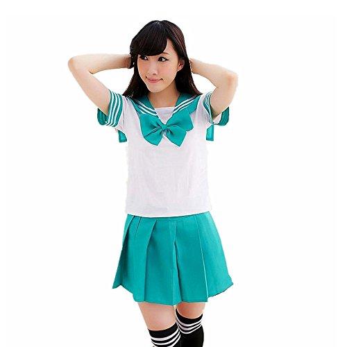 y Kostüm Schulmädchen Sailor Anime Schülerin Outfit School Uniform Fasching costume (XL, green) (School Uniform Halloween-kostüme)