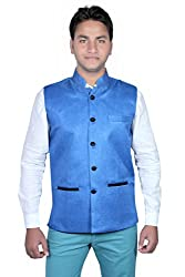 Routeen Blue Nehru Jackets for Mens
