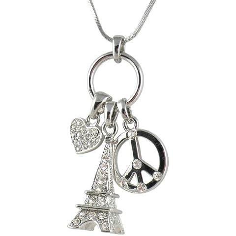 Tono de plata 3d Crystal de la torre Eiffel, símbolo de la paz, en forma de corazón collar de multi-charm