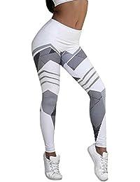 LILICAT Mujeres Deportes Yoga Gimnasio Entrenamiento Mediados de la cintura Fitness Elastic Leggings Running Pants (Blanco, L)