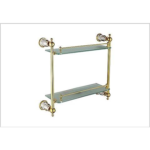 Baño estante de cristal doble oro cobre-@wei