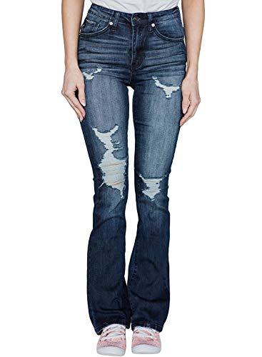 Minetom Damen Jeans Elegant Lady Fashion Retro Stil Bootcut Schlajeans Weites Bein Casual Jeanshose Maxihose Hippie 70er Party Outfit F Blau L